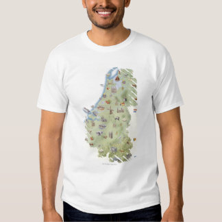 Netherlands, map showing distinguishing features tshirts