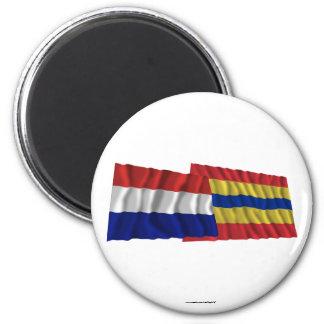 Netherlands & Overijssel Waving Flags 6 Cm Round Magnet