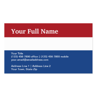 Netherlands Plain Flag Business Card Template