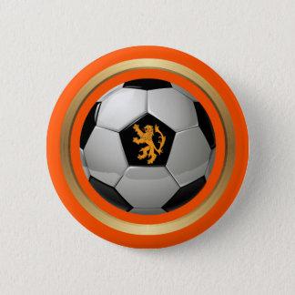 Netherlands Soccer Ball,Dutch Lion on Orange 6 Cm Round Badge