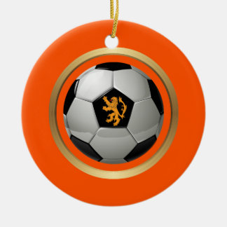 Netherlands Soccer Ball,Dutch Lion on Orange Christmas Ornament