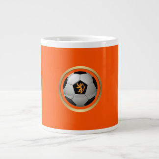 Netherlands Soccer Ball,Dutch Lion on Orange 20 Oz Large Ceramic Coffee Mug