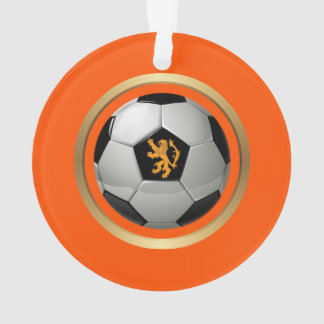 Netherlands Soccer Ball,Dutch Lion on Orange Ornament