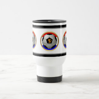 Netherlands Soccer Ball with Dutch Lion 15 Oz Stainless Steel Travel Mug