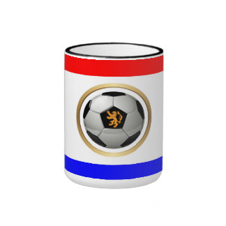 Netherlands Soccer Ball with Dutch Lion Ringer Coffee Mug