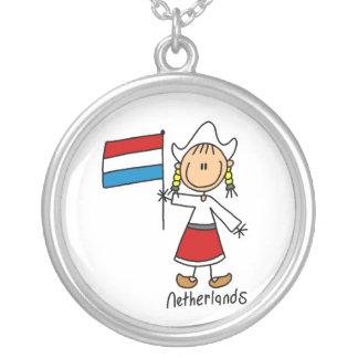 Netherlands Stick Figure Boy Necklace