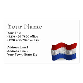 Netherlands Waving Flag Business Card Template
