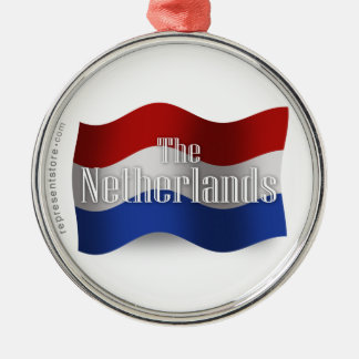 Netherlands Waving Flag Silver-Colored Round Decoration