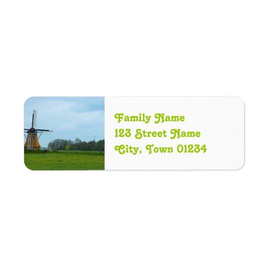 Netherlands Windmill Return Address Label