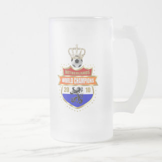 Netherlands World Champions 2010 badge Frosted Glass Mug