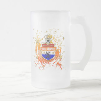 Netherlands World Champions Badge 16 Oz Frosted Glass Beer Mug