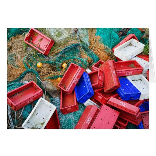 Nets and fish boxes greeting cards