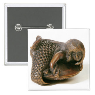 Netsuke carved in the shape of a mermaid 15 cm square badge