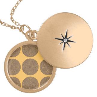 Netted Circle Pattern orange purpel Round Locket Necklace