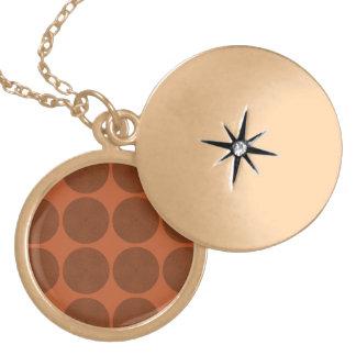Netted Circle Pattern orange Round Locket Necklace