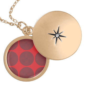 Netted Circle Pattern reds Round Locket Necklace