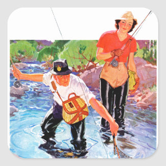 Netting A Fish by R.J. Cavaliere Square Sticker