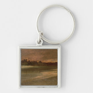 Nettuno, Evening on the Beach Silver-Colored Square Key Ring