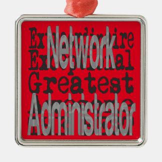 Network Administrator Extraordinaire Silver-Colored Square Decoration