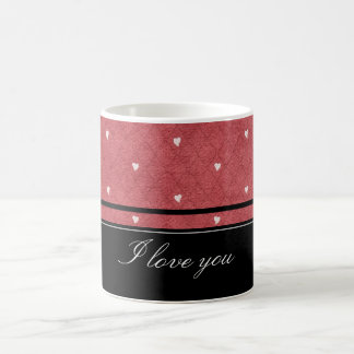 Network background with hearts and black stripes basic white mug
