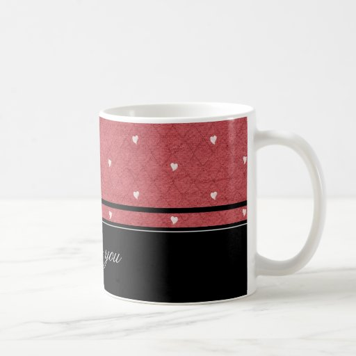 Network background with hearts and black stripes mugs