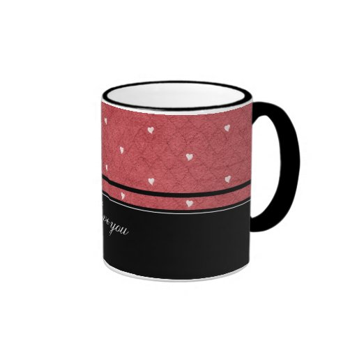 Network background with hearts and black stripes mug