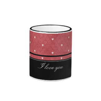 Network background with hearts and black stripes ringer mug