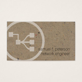 Network Engineer Network Points Icon Natural Paper Business Card