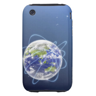 Network Lights Surrounding Earth Tough iPhone 3 Covers