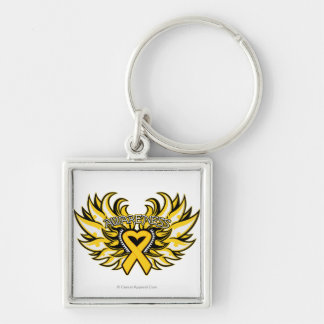 Neuroblastoma Awareness Heart Wings.png Silver-Colored Square Key Ring