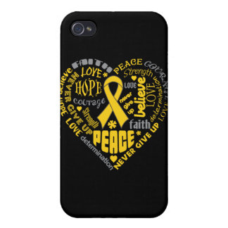 Neuroblastoma Awareness Heart Words iPhone 4/4S Cases