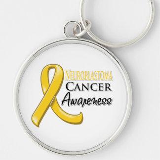 Neuroblastoma Cancer Awareness Ribbon Silver-Colored Round Key Ring