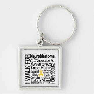 Neuroblastoma Cancer Awareness Walk Silver-Colored Square Key Ring