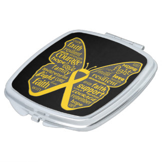Neuroblastoma Cancer Butterfly Collage of Words Compact Mirror