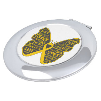 Neuroblastoma Cancer Butterfly Collage of Words Makeup Mirror