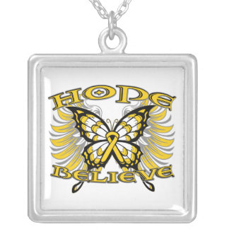 Neuroblastoma Cancer Hope Believe Butterfly copy Square Pendant Necklace