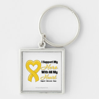 Neuroblastoma I Support My Hero With All My Heart Silver-Colored Square Key Ring