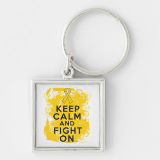 Neuroblastoma Keep Calm and Fight On.png Silver-Colored Square Key Ring