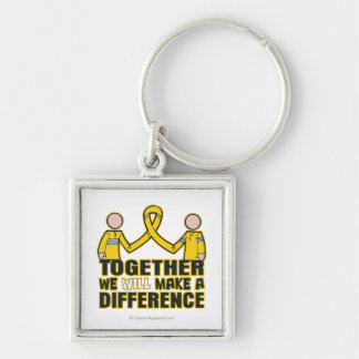 Neuroblastoma Together We Will Make A Difference.p Silver-Colored Square Key Ring
