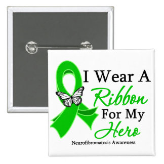 Neurofibromatosis I Wear a Ribbon For My Hero.png 15 Cm Square Badge