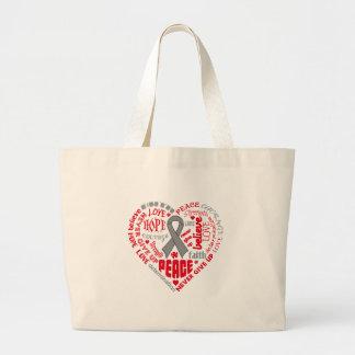 Neurological Disorders Awareness Heart Words Canvas Bags