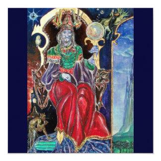 NEUROMANCER , red blue 13 Cm X 13 Cm Square Invitation Card