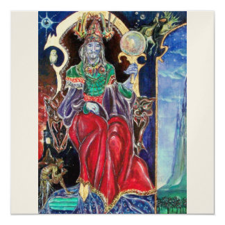 NEUROMANCER , red blue champagne  metallic, 13 Cm X 13 Cm Square Invitation Card