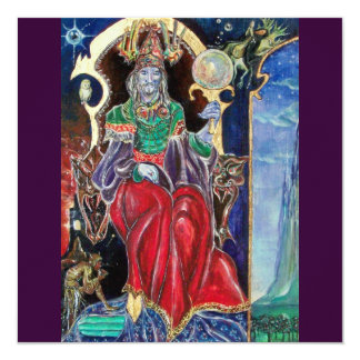NEUROMANCER , red blue purple 13 Cm X 13 Cm Square Invitation Card