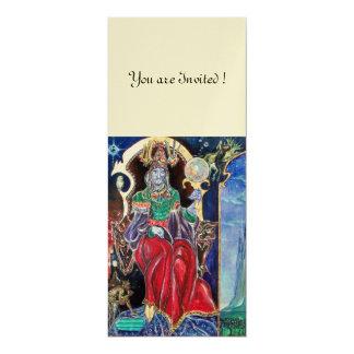 NEUROMANCER , red blue white, champagne metallic, 10 Cm X 24 Cm Invitation Card