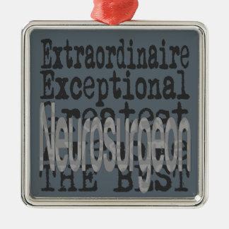Neurosurgeon Extraordinaire Silver-Colored Square Decoration