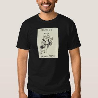 Neurotic Owl Drinks a Martini T-shirts