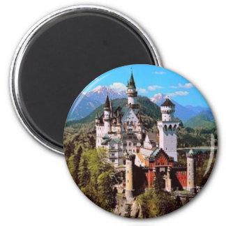 neuschwanstein castle - germany 6 cm round magnet
