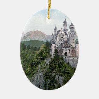 Neuschwanstein Castle Lithograph Christmas Ornament