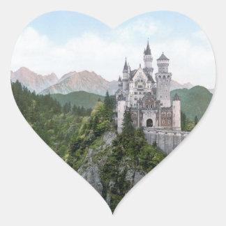 Neuschwanstein Castle Lithograph Heart Sticker